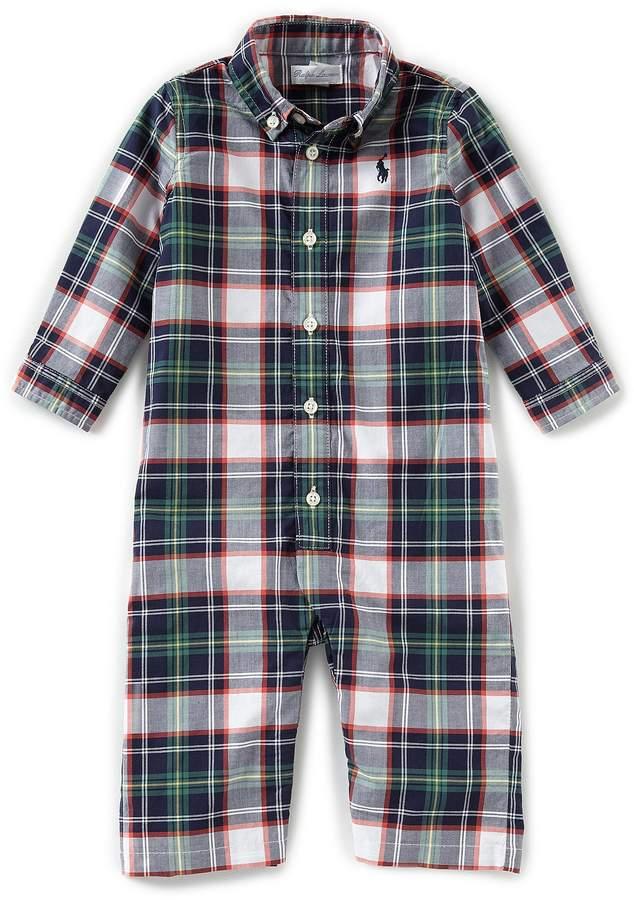 Ralph Lauren Childrenswear Baby Boys 3-12 Months Long-Sleeve Plaid Poplin Coverall