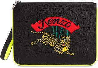 Kenzo Tiger Embroidered Flat Leather Pouch