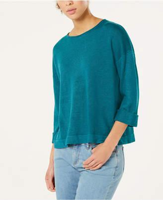 Eileen Fisher Organic Linen 3/4-Sleeve Sweater