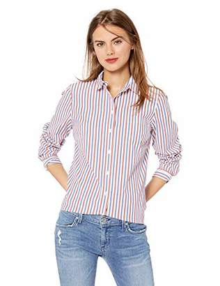 J.Crew Mercantile Women's Long-Sleeve Striped Shirt, red/Blue Verticle, S