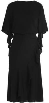 Goen.j Wrap-Effect Draped Silk-Blend Dresss