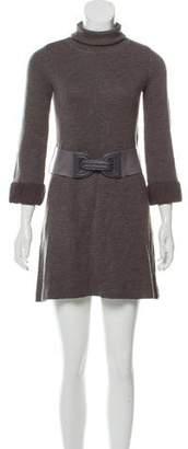 Alice + Olivia Wool-Blend Turtleneck Mini Dress