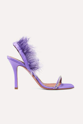 Amina Muaddi - Adwoa Crystal And Feather-embellished Satin Slingback Sandals - Lilac