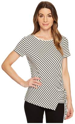 Vince Camuto Short Sleeve Pier Classic Stripe Tee w/ D-Ring Pull Women's T Shirt