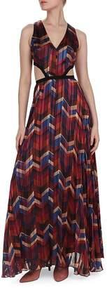 BA&SH Pia Herringbone Print Cutout Maxi Dress