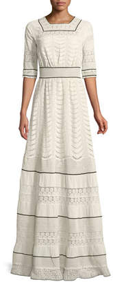 Talitha Collection Elbow-Sleeve Eyelet Lace-Inset A-Line Long Dress