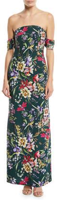 Sachin + Babi Galiana Strapless Floral Bodycon Long Gown Dress