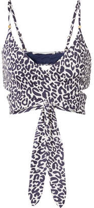 Stella McCartney Leopard-print Wrap Bikini Top - Navy