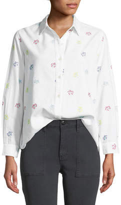 The Great The Campus Floral-Embroidered Button-Down Cotton Shirt