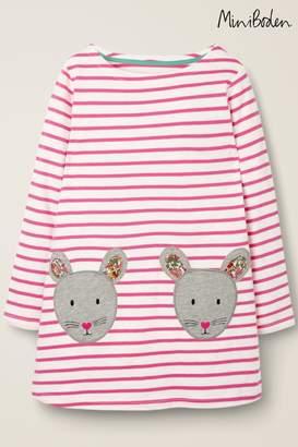 Boden Girls Pink Appliqué Pocket Tunic - Pink