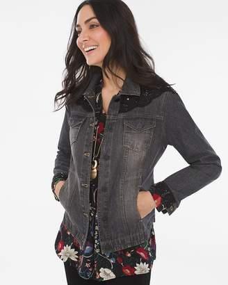 Chico's Chicos Black Lace Denim Jacket