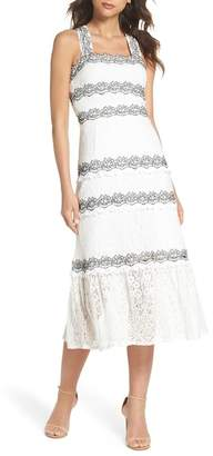 Foxiedox Frances Embroidered Lace Midi Dress