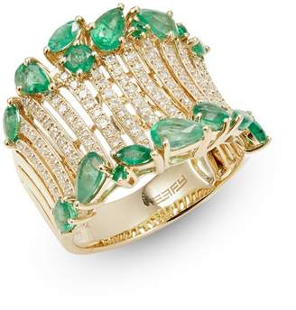 Effy Brasilica 14K Yellow Gold, Emerald 0.53 CT. T.W. Diamond Ring