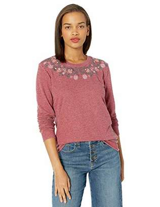 Lucky Brand Women's Necklace Embroidered Novelty Sweatshirt