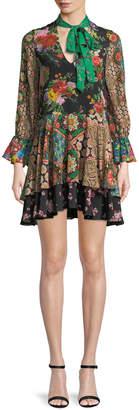 Alice + Olivia Moore V-Neck Scarf Floral-Print Silk Dress