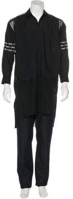 Sankuanz Mesh-Trimmed Longline Layered Shirt
