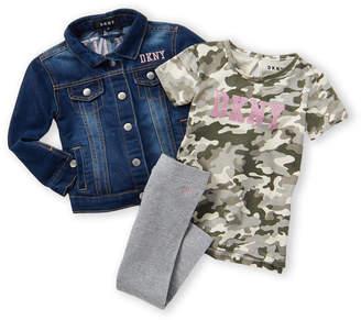 DKNY Toddler Girls) 3-Piece Denim Jacket & Leggings Set