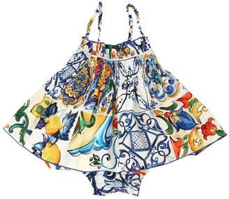 Dolce & Gabbana Maiolica Cotton Poplin Top & Shorts