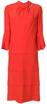Victoria Beckham ruched-neck midi dress