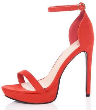 Quiz Red Faux Suede Platform Sandals