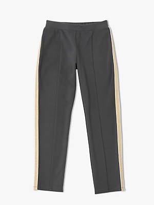 John Lewis & Partners Girls' Side Stripe Print Leggings, Charcoal