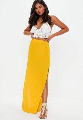 Missguided Mustard Double Split Side Maxi Skirt