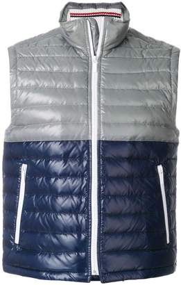 Thom Browne Down-Filled Bicolor Tech Vest In Satin Finish