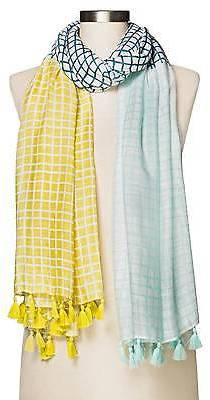 Merona; Women's Yellow And Blue Checker Print Ombre Scarf - Merona; $16.99 thestylecure.com