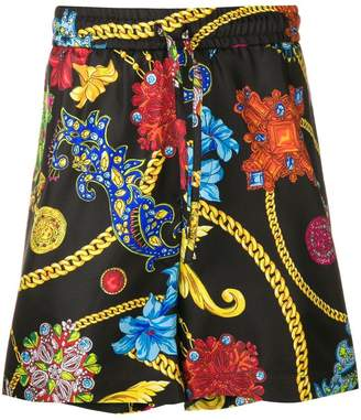 Versace baroque and floral print shorts