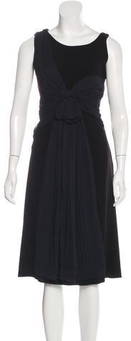 pradaPrada Silk-Trimmed Midi Dress