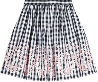 Moschino Embroidered Gingham Skirt