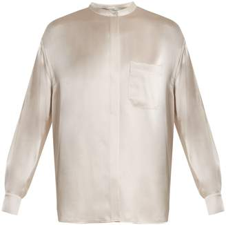 Vince Long-sleeved silk-satin blouse