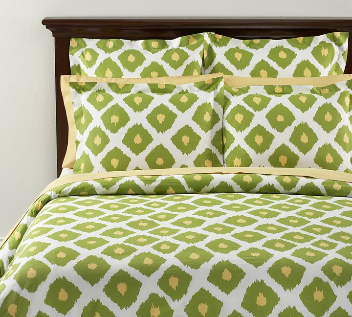Ikat Organic Duvet Cover & Sham - Green Apple/Pineapple Yellow