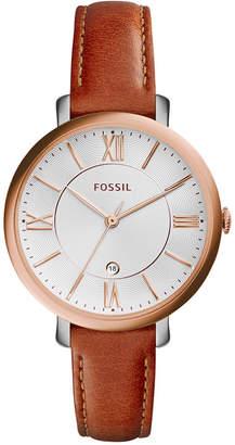 Fossil Women's Jacqueline Dark Brown Leather Strap Watch 36mm ES3842