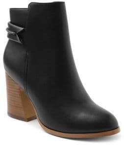 Kensie Surrey Stacked Heel Leather Booties