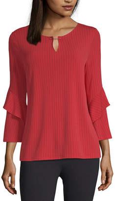 Liz Claiborne 3/4 Sleeve Split Crew Neck Knit Blouse