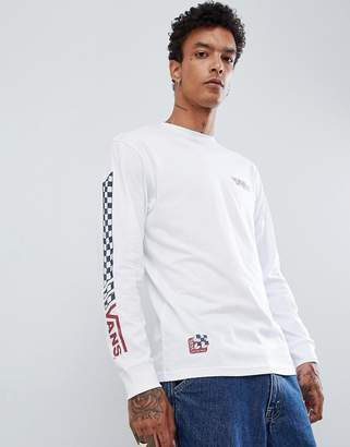 Vans long sleeve t-shirt with arm print in white VN0A3HQHWHT1