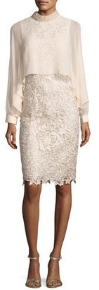 Rickie Freeman for Teri Jon Long-Sleeve Floral Lace Cocktail Dress, Champagne $660 thestylecure.com