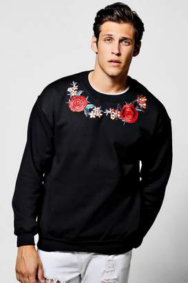 boohoo Twin Rose Embroidered Sweater