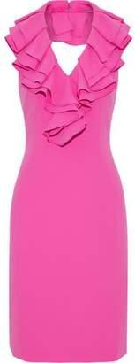 Mikael Aghal Ruffled Neon Cady Halterneck Dress