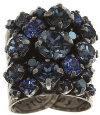 Konplott Women Ballroom Brass Blue Glass Ring – Size Adjustable – 5450543475493