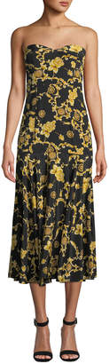 Veronica Beard Annika Printed Silk Strapless Midi Dress