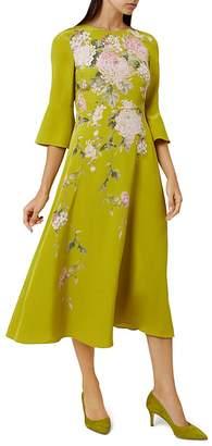 Hobbs London Sadie Bell Sleeve Silk Midi Dress