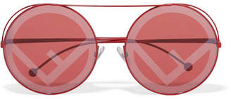 Fendi Printed Round-frame Metal Sunglasses - Red