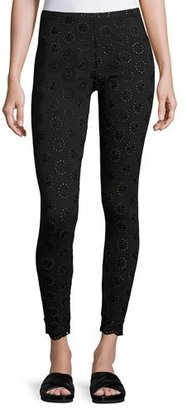 Johnny Was Stretch Eyelet Leggings $120 thestylecure.com