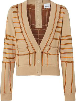Burberry Rope Silk Wool Jacquard V-neck Cardigan
