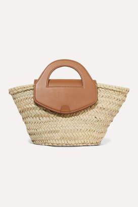 BEIGE HEREU - Net Sustain Alqueria Leather-trimmed Woven Straw Tote