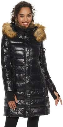 Women's S13 Faux-Fur Hooded Glossy Down Puffer Coat