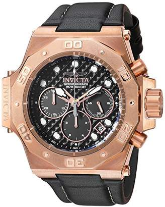 Invicta Men's 'Akula' Quartz Stainless Steel and Leather Casual Watch