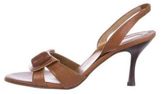 Salvatore Ferragamo Embossed Slingback Sandals